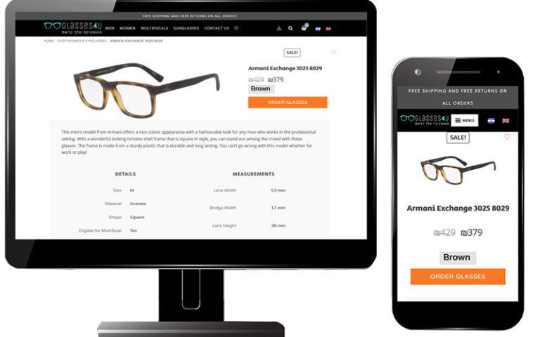 image of website build for glasses4u